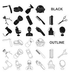 barbershop and equipment black icons in set vector image