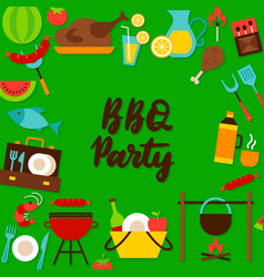 bbq party lettering postcard vector image