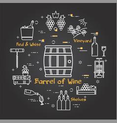 Black banner winemaking - barrel wine vector