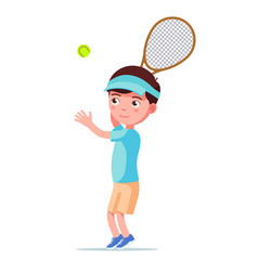 boy tennis player throws ball to hit vector image