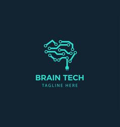Brain tech logo creative brain logo line brain vector