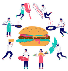 Burger cooking flat style design vector