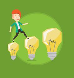 Business woman jumping on light bulbs vector