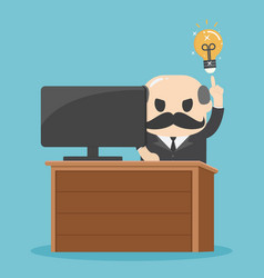 businessman having good idea businessman sitting vector image