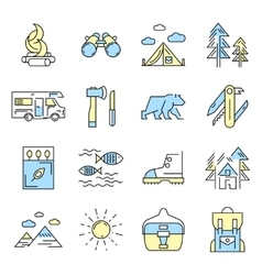 Camping icon set in color vector