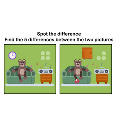 cartoon brown bear find the differences vector image