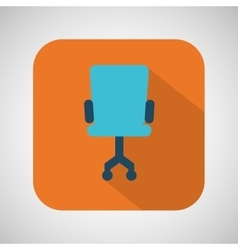chair blue wheel blue with orange background vector image