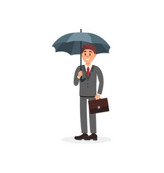 cheerful businessman holding black umbrella vector image