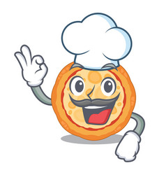 chef cheese pizza isolated with mascot vector image