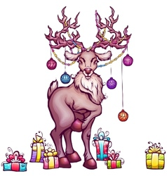 Christmas deer in cartoon style vector