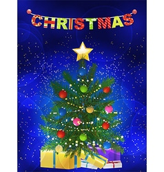 Christmas tree and presents blue background vector image