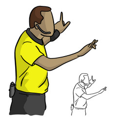 Close-up male referee with yellow jersey shirt vector