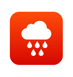 cloud with rain drops icon digital red vector image