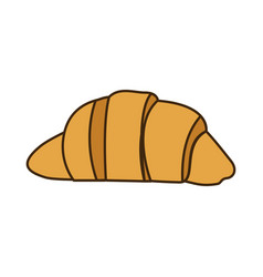 Colorful silhouette croissant bread icon food vector
