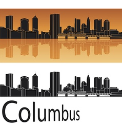 Columbus skyline in orange background vector image