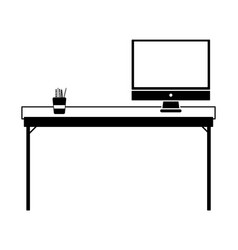Contour wood desk object with computer screen vector