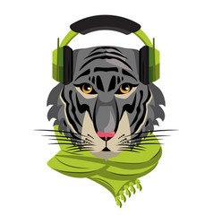 Cool hipster tiger vector