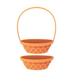 cute empty cartoon basket isolated on white vector image