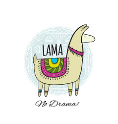 Cute lama character greeting card for your design vector