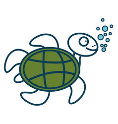 Cute turtle character icon vector