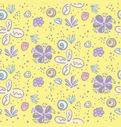 cute yellow naive doodle floral pattern vector image