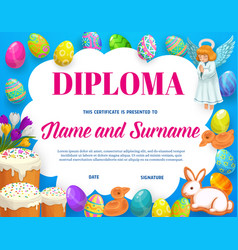 Diploma kids education with easter eggs vector