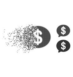 Disintegrating dot halftone financial message icon vector