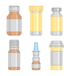 drug bottle set colorful line icon vector image