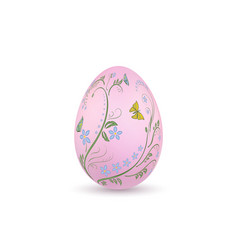 easter egg 3d icon pink egg isolated white vector image