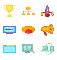 Excellent support icons set cartoon style vector