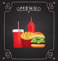 fast food menu on blackboard vector image
