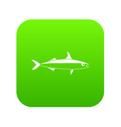 Fish icon digital green vector