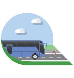 flat design city transportation bus intercity long vector image