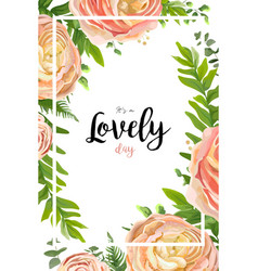 floral watercolor style card design pink peach vector image