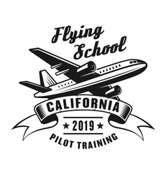 flying school vintage emblem with airplane vector image