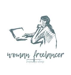 Freelancer woman laptop computer art sketch vector