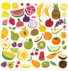 fruits set cute fruit lemon watermelon banana vector image