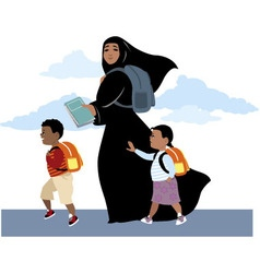 Going to school together vector image