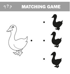 goose birds shadow matching game vector image