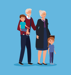 Grandparent with boy and girl kids together vector
