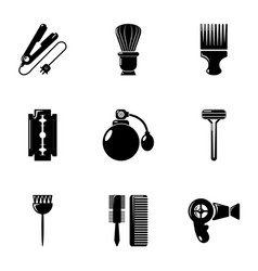 Hairdressing salon icons set simple style vector