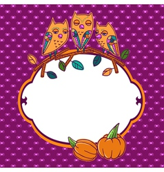 Halloween greeting card with owls vector