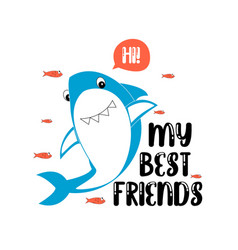 Hand drawing shark print design with slogan vector