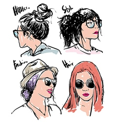Hand drawn fashion girls hipster vector image