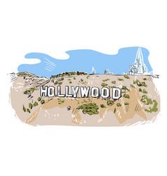 Hollywood hill sketch line usa landscape hand vector