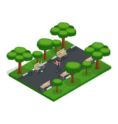 Isometric park with people city park fresh air vector