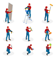 isometric set with home repair workers doing vector image