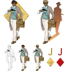 Jack of diamonds afroamerican boy with a gun Mafia vector image