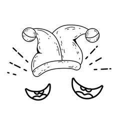Joker hat and smiles fools day accessory vector