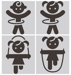 Kids activities icons set vector
